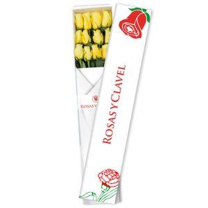 caja con 12 rosas amarillas