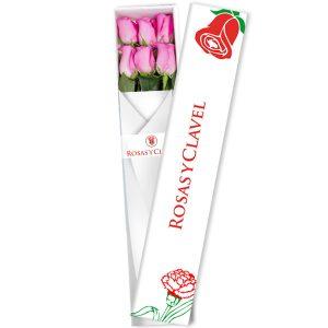 Caja con 6 rosas rosadas