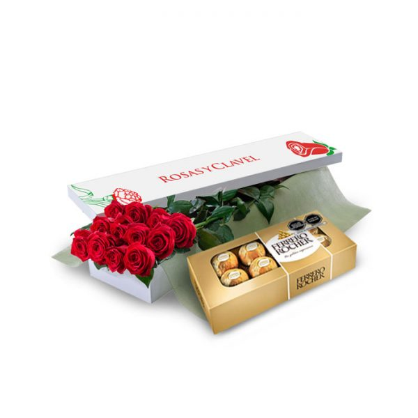 Caja 12 rosas rojas más bombones ferrero rocher