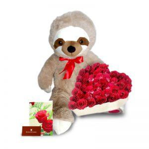Oso perezoso con Corazón de rosas rojas