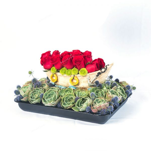 Botecito con rosas rojas importadas
