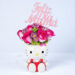 Hello Kitty con 12 rosas blanca matizada