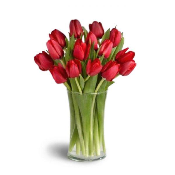 Florero con 20 tulipanes rojos