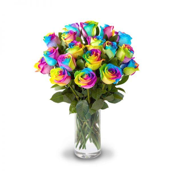 Hermoso florero que incluye 20 Rosas arcoiris importadas