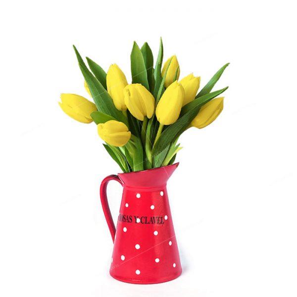 Jarrita con 10 tulipanes amarillos