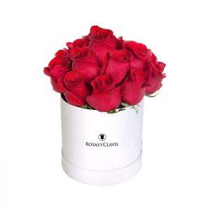 Sombrerera con 15 rosas rojas