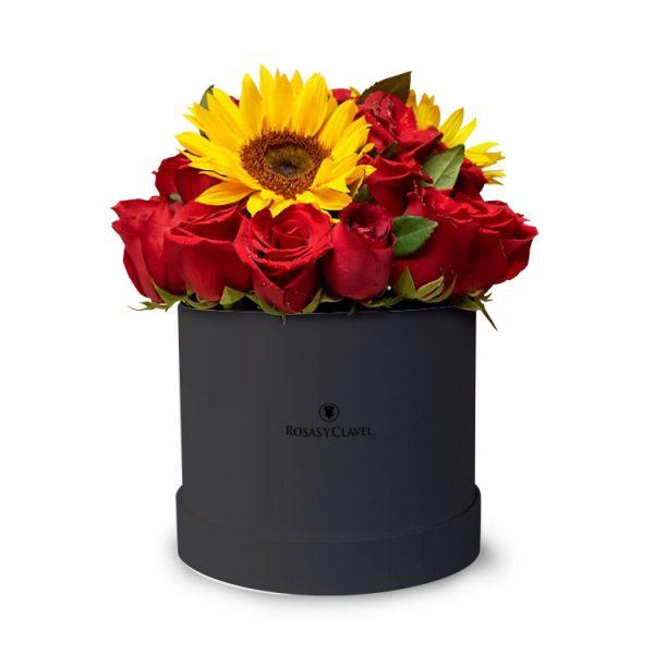 Box negro con Rosas y Girasoles
