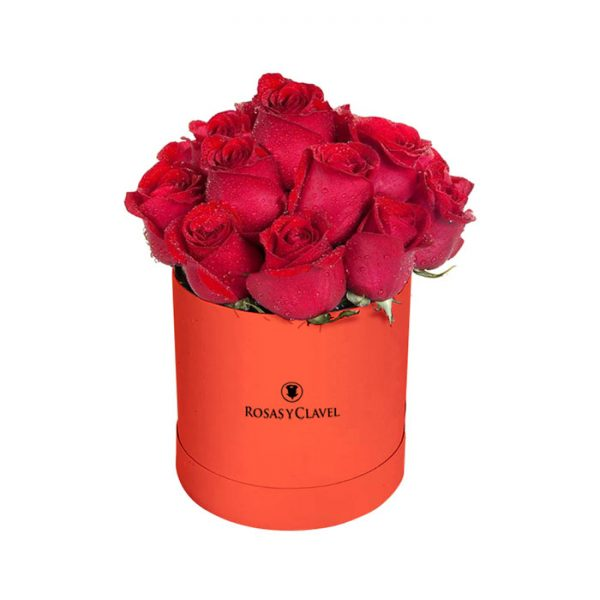 Sombrerera roja con 15 rosas rojas